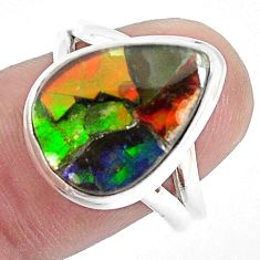 925 silver 9.67cts natural multi color ammolite solitaire ring size 8 p47852