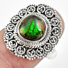 925 silver 3.76cts natural multi color ammolite solitaire ring size 7.5 p61552