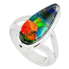 925 silver 5.79cts natural multi color ammolite solitaire ring size 7 p68307