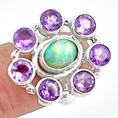 925 silver 8.98cts natural multi color ethiopian opal oval ring size 6.5 p78027