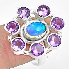 925 silver 8.98cts natural multi color ethiopian opal oval ring size 8.5 p78074