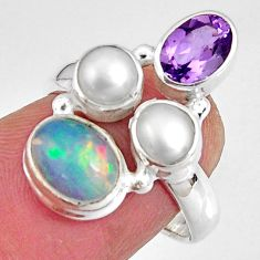 925 silver 6.36cts natural multi color ethiopian opal pearl ring size 6.5 p90787
