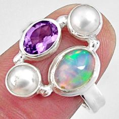 925 silver 6.10cts natural multi color ethiopian opal pearl ring size 7.5 p90792