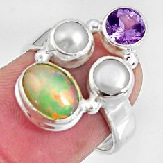 925 silver 5.24cts natural multi color ethiopian opal pearl ring size 6.5 p90798