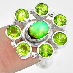 925 silver 8.98cts natural multi color ethiopian opal peridot ring size 9 p78064