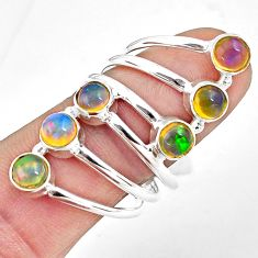 925 silver 5.51cts natural multi color ethiopian opal ring jewelry size 9 p77779
