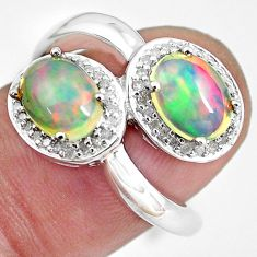 925 silver 5.28cts natural multi color ethiopian opal topaz ring size 7 c3879