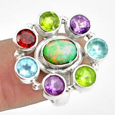 925 silver 9.47cts natural multi color ethiopian opal topaz ring size 6.5 p78030