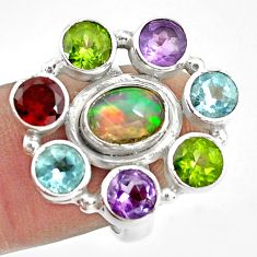 925 silver 9.23cts natural multi color ethiopian opal topaz ring size 6.5 p78040