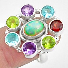 925 silver 8.98cts natural multi color ethiopian opal topaz ring size 7.5 p78051