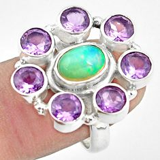 925 silver 9.23cts natural multicolor ethiopian opal amethyst ring size 7 p78048