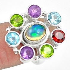 925 silver 9.23cts natural multicolor ethiopian opal amethyst ring size 7 p78077