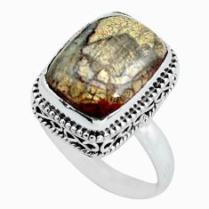 Clearance Sale- 925 silver 7.51cts natural mushroom rhyolite solitaire ring size 8.5 d32085