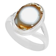925 silver 6.04cts natural ocean sea jasper oval solitaire ring size 8 p71460
