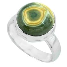 925 silver 6.35cts natural ocean sea jasper round solitaire ring size 7.5 p68270
