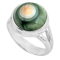 925 silver 6.04cts natural ocean sea jasper round solitaire ring size 7 p68280