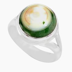 925 silver 7.40cts natural ocean sea jasper round solitaire ring size 7.5 p71455