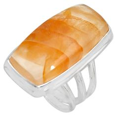 925 silver 19.48cts natural orange calcite solitaire ring jewelry size 6 p92653