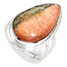 925 silver 19.99cts natural orange celestobarite solitaire ring size 7 p33245