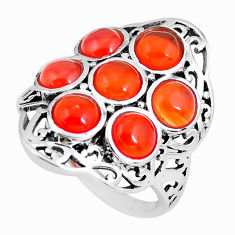 925 silver 6.32cts natural orange cornelian (carnelian) round ring size 8 p61144