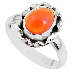 925 silver 3.29cts natural orange mexican fire opal solitaire ring size 7 p41664