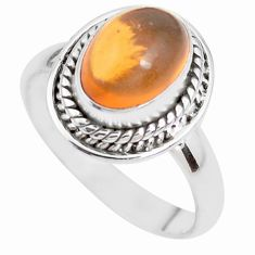 925 silver 4.69cts natural orange mexican fire opal solitaire ring size 7 p41679