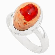 925 silver 5.52cts natural orange mexican fire opal solitaire ring size 8 p76324
