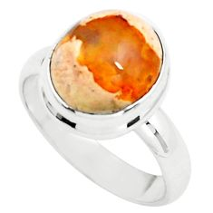 925 silver 5.79cts natural orange mexican fire opal solitaire ring size 8 p76337