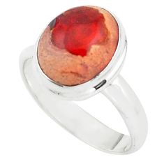 925 silver 5.38cts natural orange mexican fire opal solitaire ring size 8 p76359