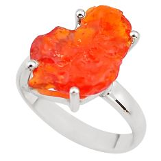 925 silver 6.45cts natural orange mexican fire opal solitaire ring size 8 p84357