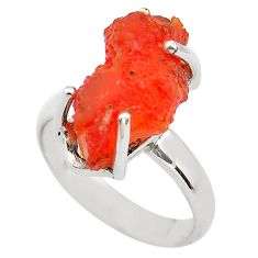 925 silver 7.15cts natural orange mexican fire opal solitaire ring size 7 p84368