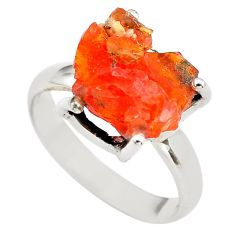 925 silver 6.22cts natural orange mexican fire opal solitaire ring size 7 p84371