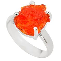 925 silver 6.43cts natural orange mexican fire opal solitaire ring size 7 p84379