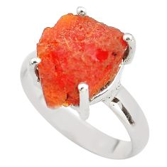 925 silver 6.04cts natural orange mexican fire opal solitaire ring size 7 p84388