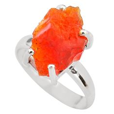 925 silver 7.17cts natural orange mexican fire opal solitaire ring size 8 p84399