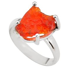 925 silver 6.14cts natural orange mexican fire opal solitaire ring size 8 p84416