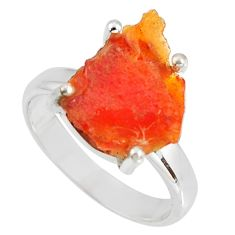925 silver 4.86cts natural orange mexican fire opal solitaire ring size 7 p90152