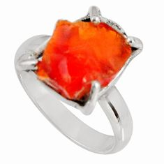 925 silver 4.78cts natural orange mexican fire opal solitaire ring size 7 p90166