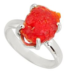 925 silver 5.36cts natural orange mexican fire opal solitaire ring size 8 p90169