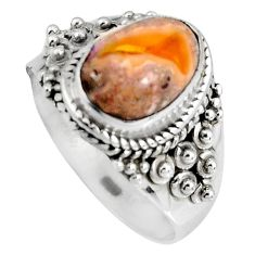 925 silver 3.42cts natural orange mexican fire opal solitaire ring size 9 p90512