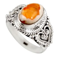 925 silver 3.90cts natural orange mexican fire opal solitaire ring size 8 p92131