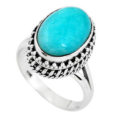 925 silver 6.96cts natural peruvian amazonite solitaire ring size 7.5 p56536