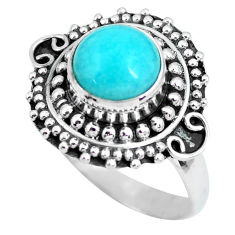 925 silver 3.35cts natural peruvian amazonite solitaire ring size 7.5 p63308
