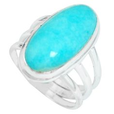925 silver 10.89cts natural peruvian amazonite solitaire ring size 7.5 p65576
