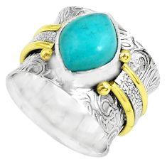 925 silver natural peruvian amazonite two tone solitaire ring size 5.5 p61997