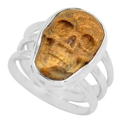 925 silver 8.14cts natural picture jasper skull solitaire ring size 8 p88204
