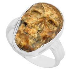 925 silver 10.41cts natural picture jasper skull solitaire ring size 7.5 p88208