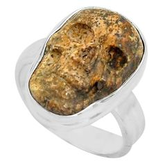 925 silver 10.41cts natural picture jasper skull solitaire ring size 7 p88213