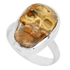 925 silver 9.29cts natural picture jasper skull solitaire ring size 6.5 p88220