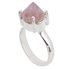 925 silver 6.53cts natural pink beta quartz fancy solitaire ring size 7.5 p84423